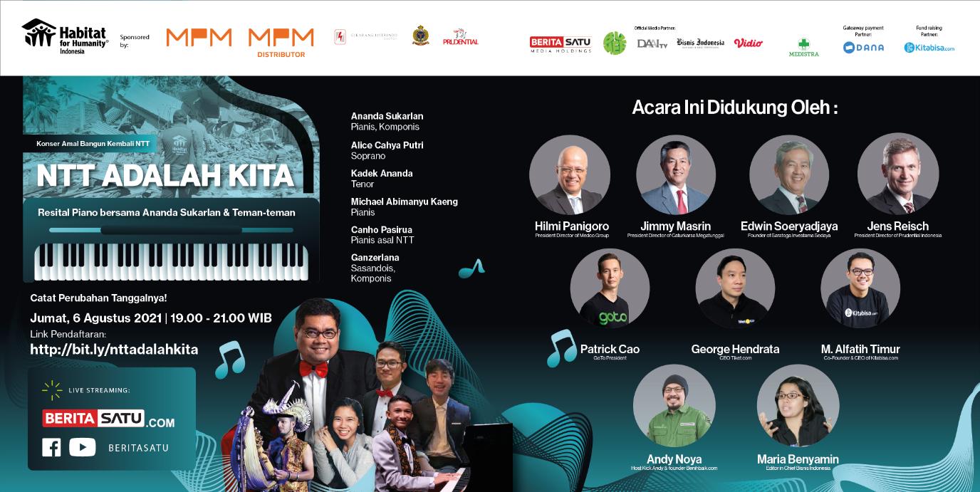 """Konser Amal """"NTT adalah Kita"""" – Resital Piano Ananda Sukarlan dan Teman<br>Charity Concert """" NTT is Us"""" – Piano Recital with Ananda Sukarlan and Friends"""